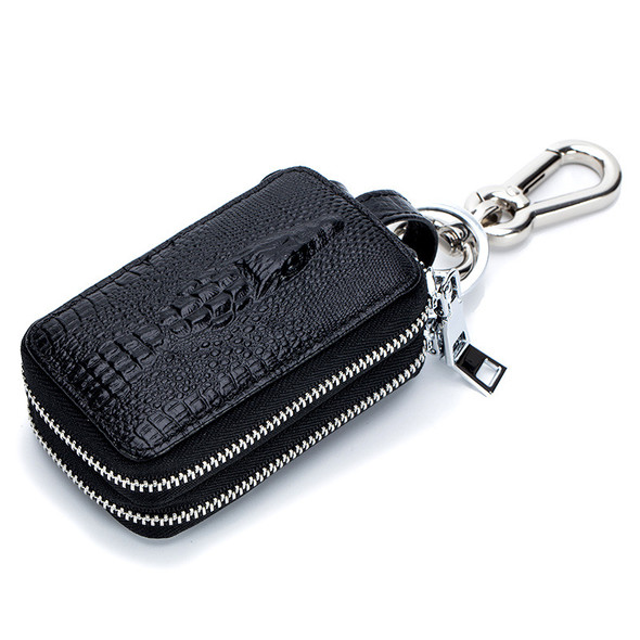 Car keypack Fashion crocodile pattern handbags Double zipper Genuine leather Key bag Waist hang Simple large capacity package