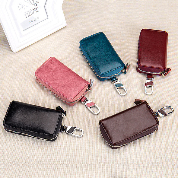Key Case Multi-function Zipper Genuine Leather High-capacity Customized Mens Key Pack Women Waist Hanging Bags