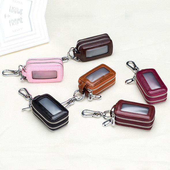 Car keypack Genuine leather zipper bag Waist hang Double-deck Men's key pack