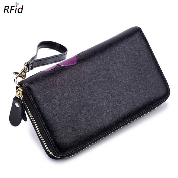 Lady Wallet Leather Zipper Wallet RFID Fashion Leather Handbag General Purse for Men and Women