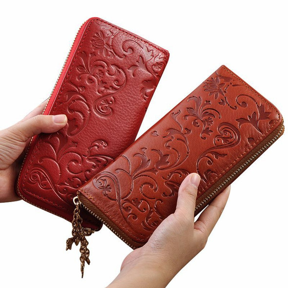 European and American leather handbags Leather handbag Long wallet for ladies Clutch bag Morning Glory Wallet