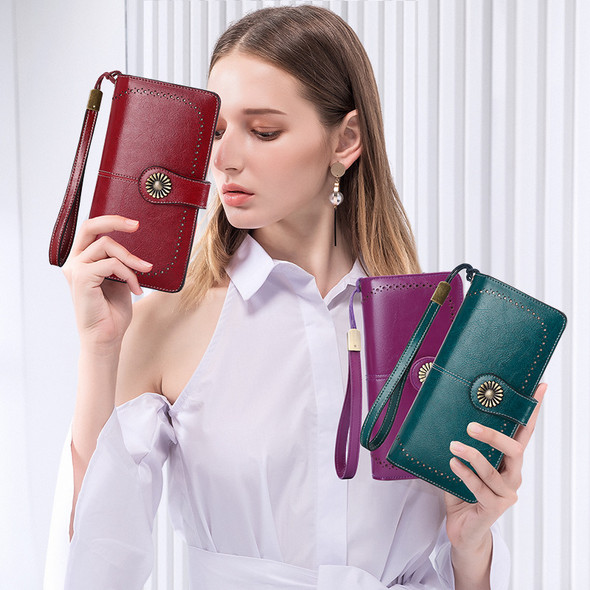 Genuine Leather Women Wallet RFID Long Clutch Ladies Large Capacity With Zipper For Cash Coin Keys Mobile Purse