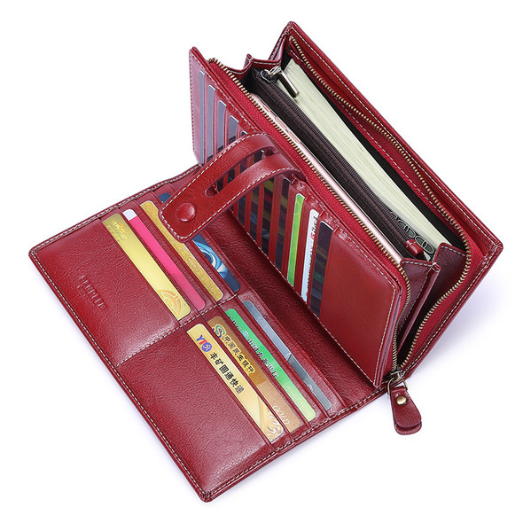 Genuine Leather Wallet RFID Long Clutch Ladies Large Capacity With Zipper For Cash Coin Mobile Purse Bag