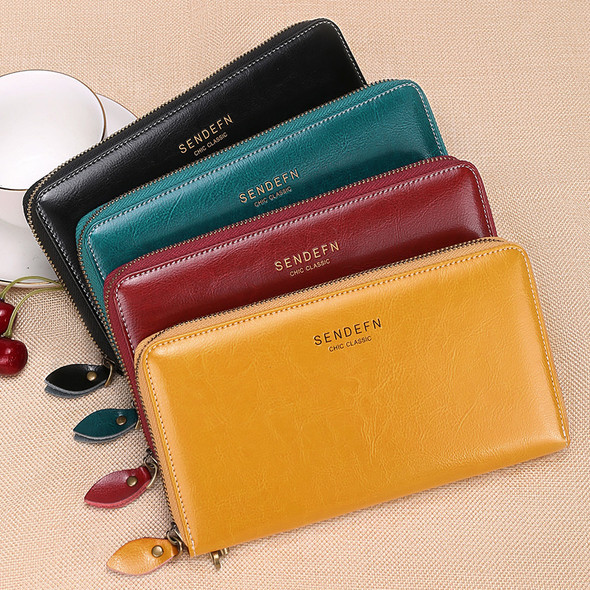 Long RFID Leather Ladies Wallet Large Capacity Wax Oil Leather Multi-Card Mobile Cell Phone Bag
