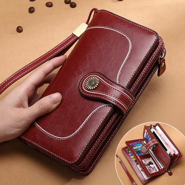 Popular RFID anti-degaussing leather ladies wallet large capacity long European and American style wax oil leather women's multi-card purse