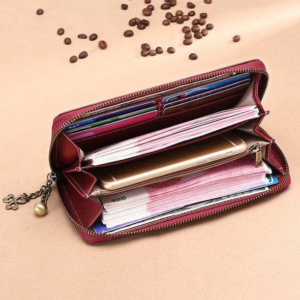 Women long Korean style cowhide Leather ladies multi-card wallet zipper large capacity clutch for cash coin mobile phone purse bag