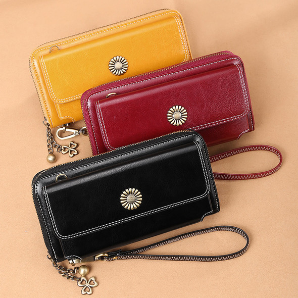 Women Leather ladies wallet Korean style zipper multi-function wallet leather ladies long clutch bag mobile phone bag