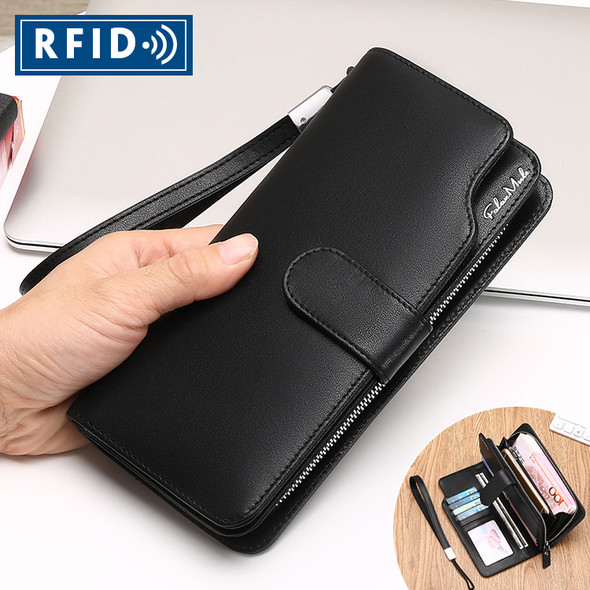 Men's multi-function wallet long genuine leather Korean style wallet zipper men's bag handbag for cash card mobile phone purse