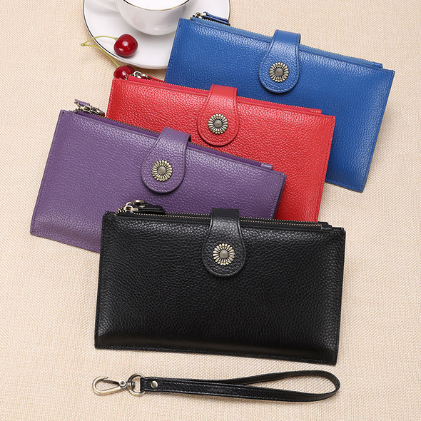 European and American retro style genuine leather clutch bag ladies wallet double zipper card mobile phone holder ladies purse