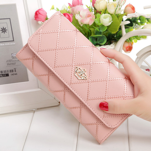 Women's ?Korean Style ?Embroidered Check, Plaid & Tartan Ladies Long Cowhide Wallet Multi-card Hand Holding Leather Purse