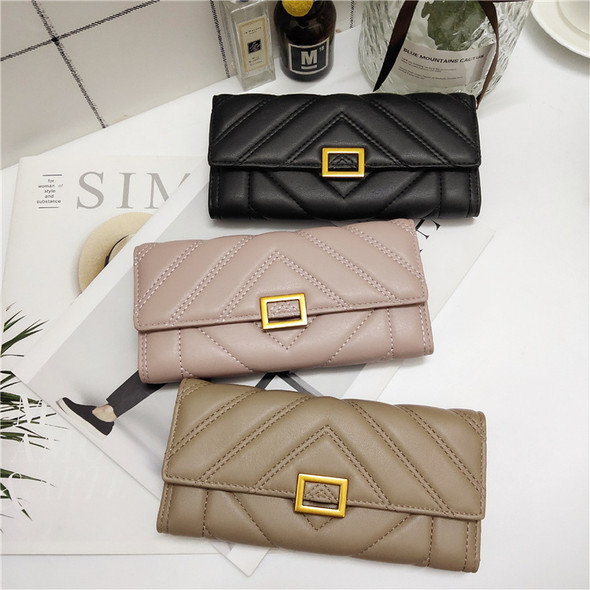 Women's Japan and Korean Style Long Wallet Clutch Bag PU Leather Multi-function Cash Credit Card Purse Bag Hand Holding Wallet