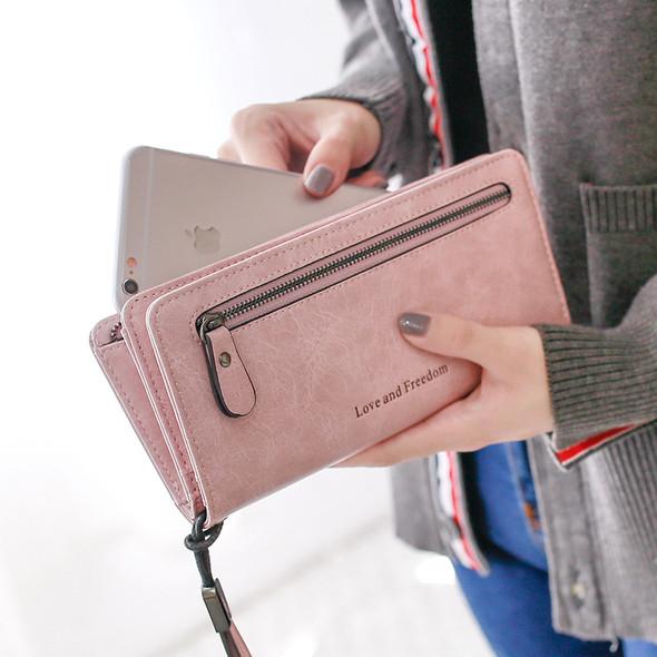 Women's Mobile Wallet Japan and Korean Style of ?Zipper Letter Long Handbag Large Capacity Women's Multi-function Long PU Leather Purse Bag