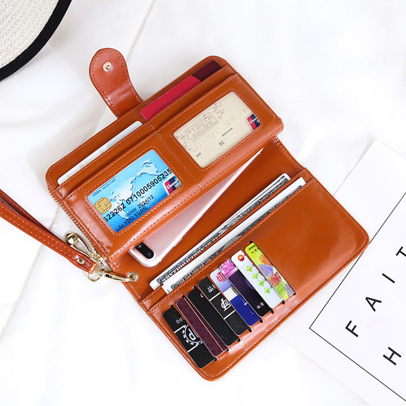 Women's Retro Oil Wax Leather Long Wallet Large capacity PU Leather Clutch Bag Multi-function Mobile Phone Hand Holding Purse Bag