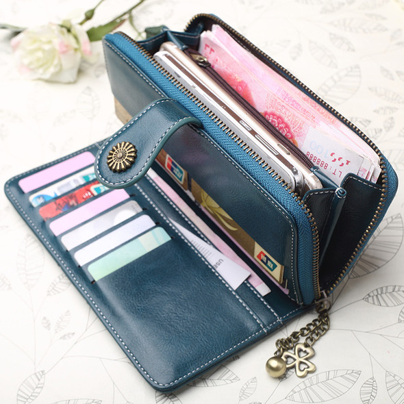 Retro Long Oil Wax Leather Women's Wallet Large capacity PU Leather Clutch Bag Multi-function Mobile Phone Hand Holding Purse Bag Gift