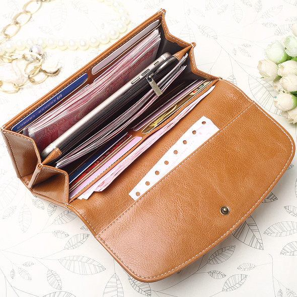 Retro Women's Wallet Long PU Leather Multi-function Clutch HandBag Mobile Phone Hand Holding Purse Bag for Coin Cash Mobile Phone Holder Bag