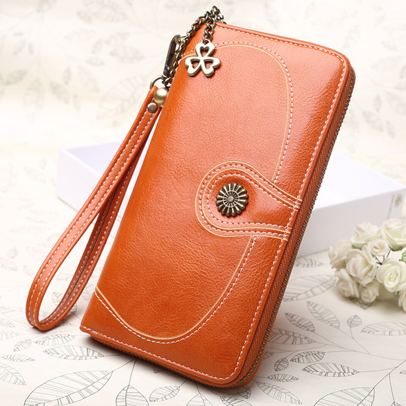 Oil Wax Leather Women's Wallet Long PU Leather Multi-function Coin Clutch HandBag Mobile Phone Hand Holding Purse Bag