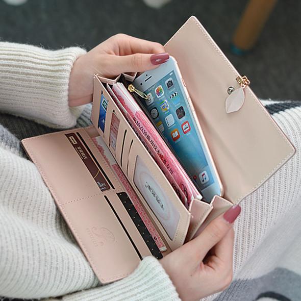 Women's Wallet Long PU Leather Clutch Bag Purse Mobile Phone Coin Multi-function Purse Bag