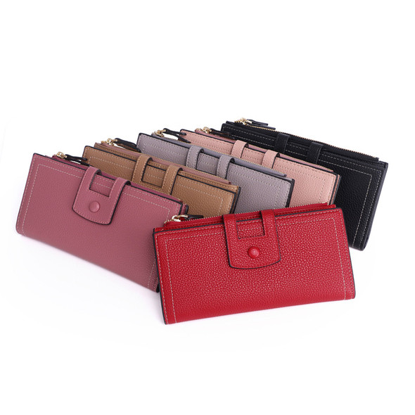 Women's Hand Holding Long Wallet Multi-function PU Leather Coin Card Mobile Phone Holder Large Capacity Handbag Ladies Purse for Gift Party