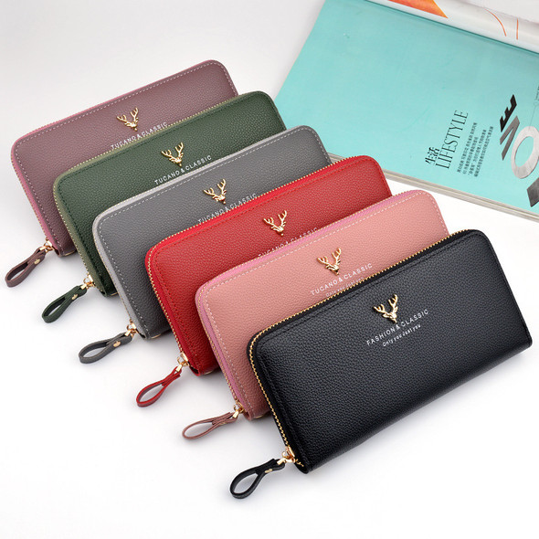 Women's Square Purse Mobile Phone Holder Leather Handbag Zipper Hand Holding Lady Clutch Bag