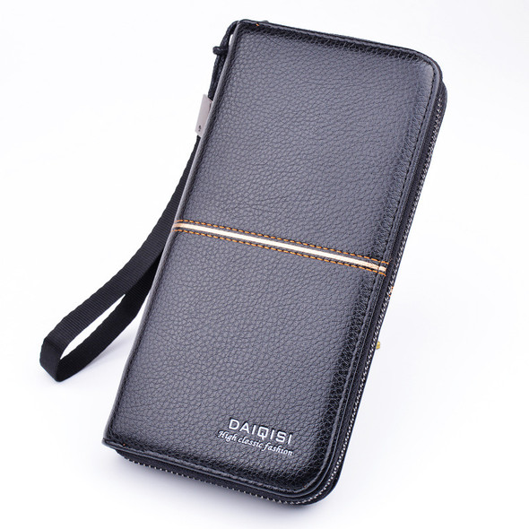 Long Square Men's Business Purse Mobile Phone Holder PU Leather Handbag Multi-function Zipper Clutch Men's Wallet