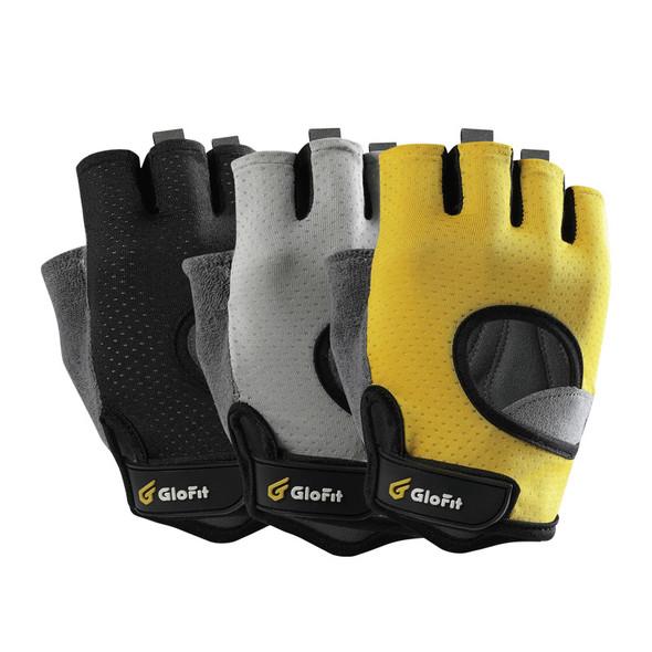 black gray yellow shorty fingerless gloves