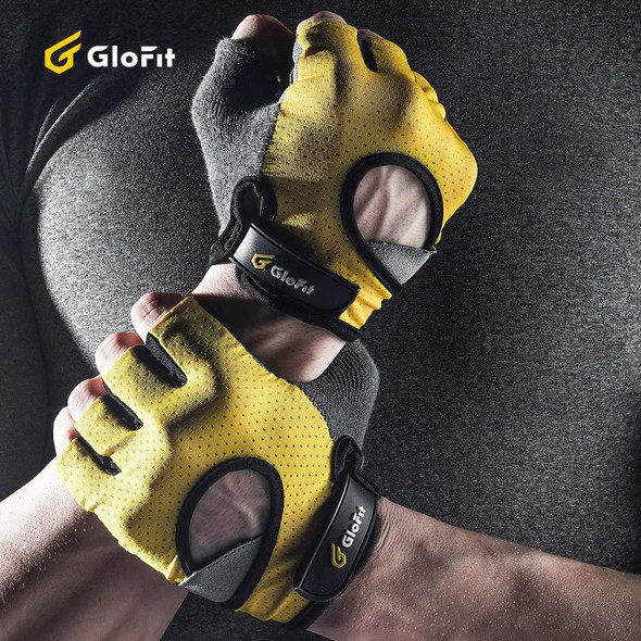 yellow gym workout gloves