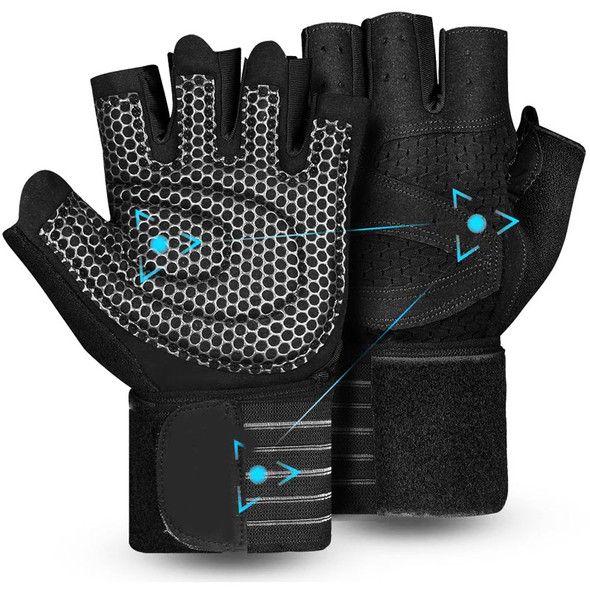 weight lifting gloves with wrist wrap support