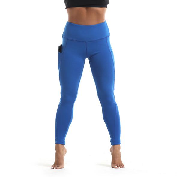 women's power flex blue yoga pants with black  phone case