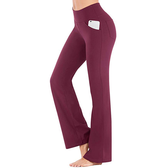 yoga pants women wine color