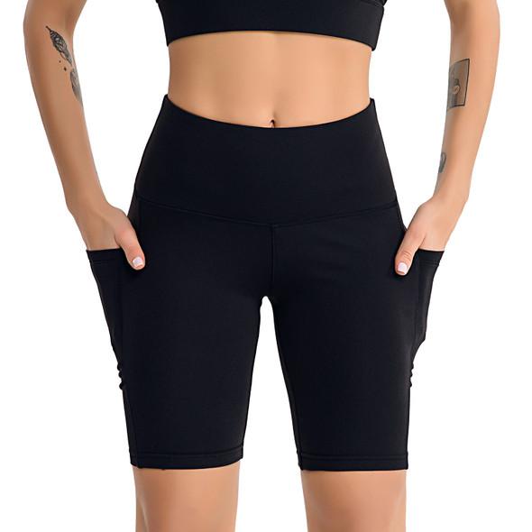 black biker shorts with 2 side pockets