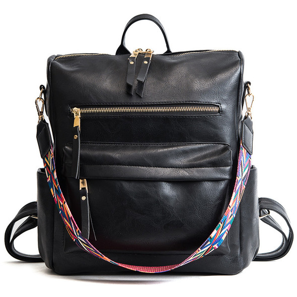 black backpack with colorful strap