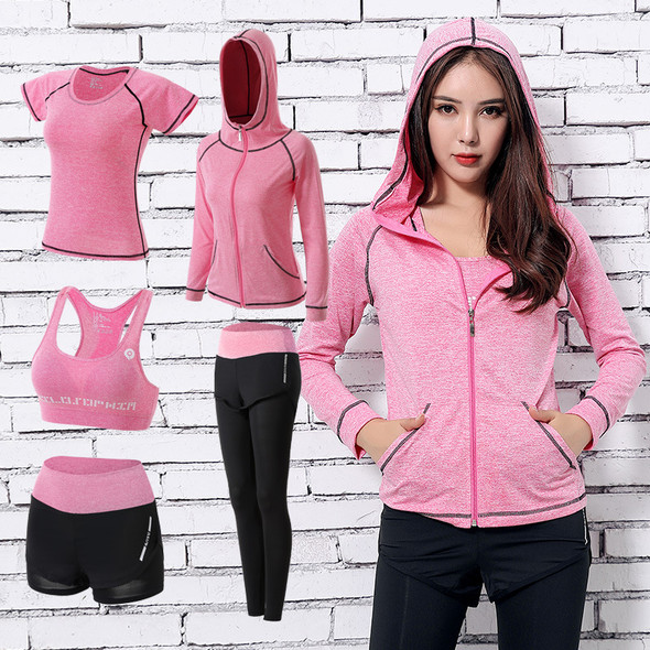 women's athletic clothing sets 5in1 pink color