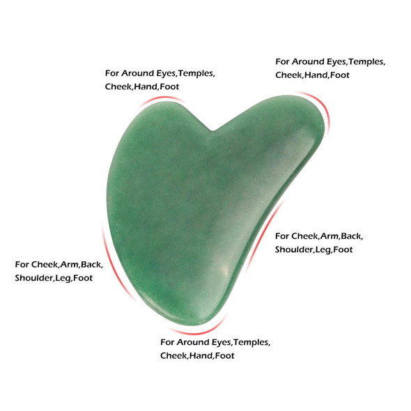 Green Aventurine Gua Sha Scraping Massage Tool, Natural Crystal Heart Shape Scraping Board Scraper Tool
