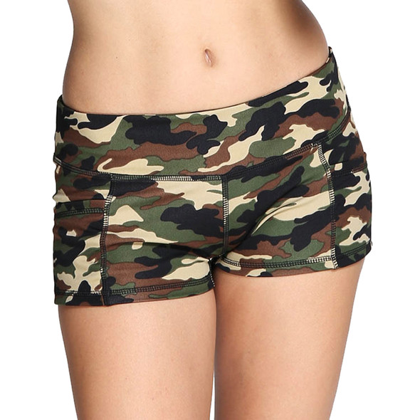 Camo green yoga shorts for women