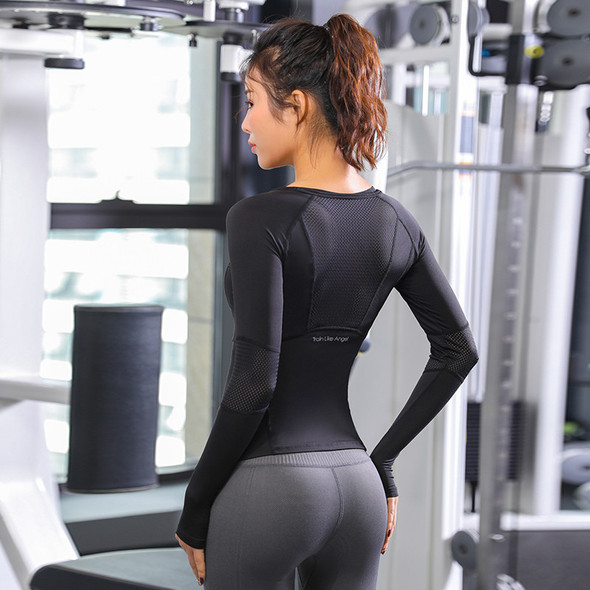 Sports Tops Gym Women Fitness T Shirt Woman Long Sleeve Yoga Top Mesh Womens Gym Tops Sport Wear