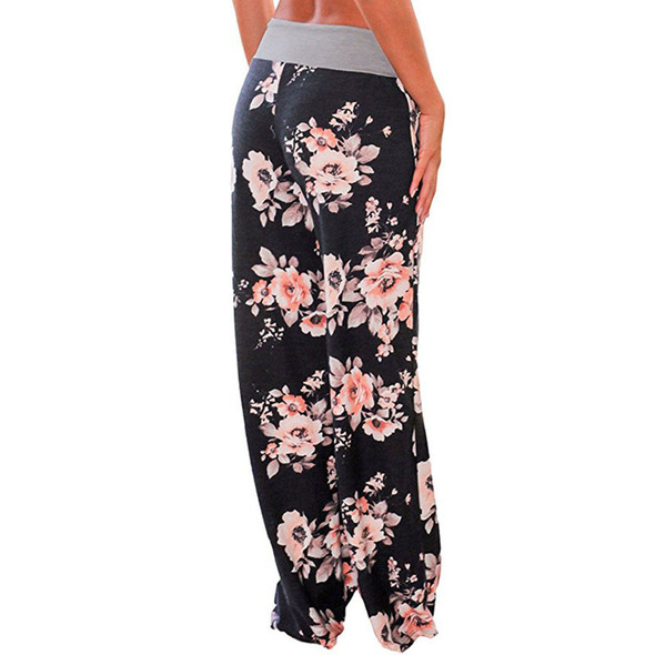 Women Loose Trousers Casual Stretch Waist Drawstring Pajama Pants