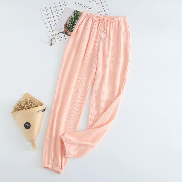 Womens Cotton Pajamas Double Gauze Loose Trousers Casual Pants