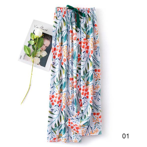 Womens Cotton Pants Thin Sleep Bottoms Cute Strawberry Print Casual Pajama Pants