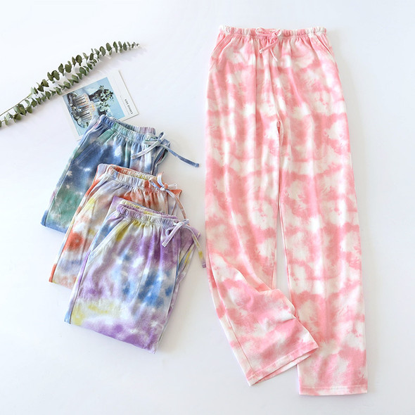 Women's Knitted Tie-Dyed Household Thin Casual Trousers