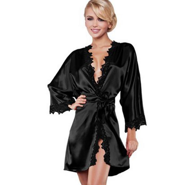 Womens  Sexy Silky Lace  Robe Nightwear