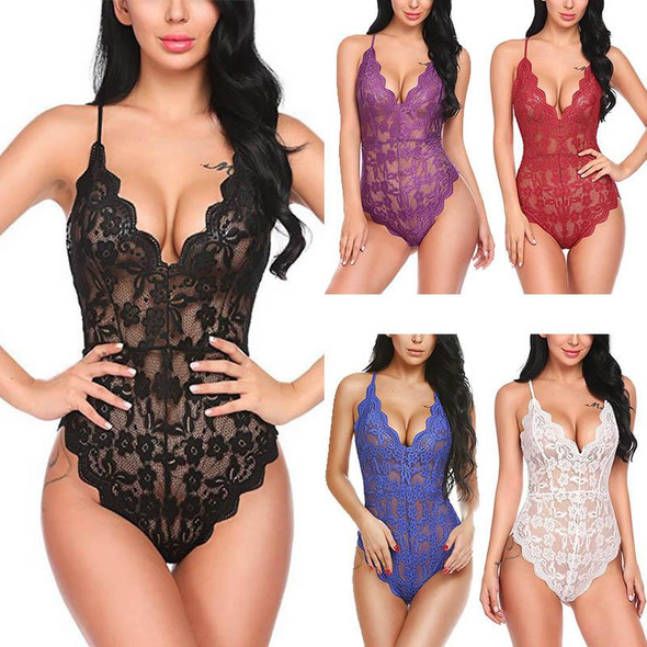 Womens  Sexy Lace V Backless Bodysuit Neck  Nightwear