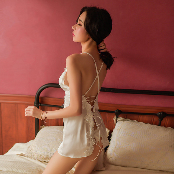 Womens Sexy Lace Cross Stra Halter Embroidery V-NeckSilk Nightgown