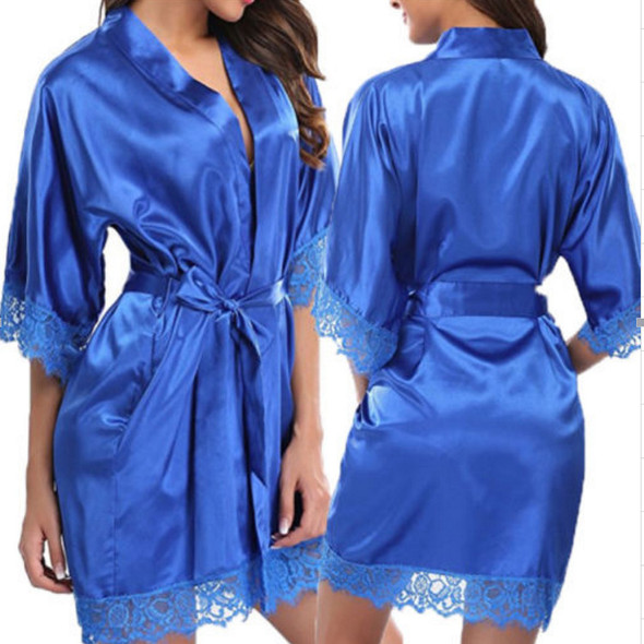 Women's Lace Sexy Lingerie Faux Ice Silk Nightdress