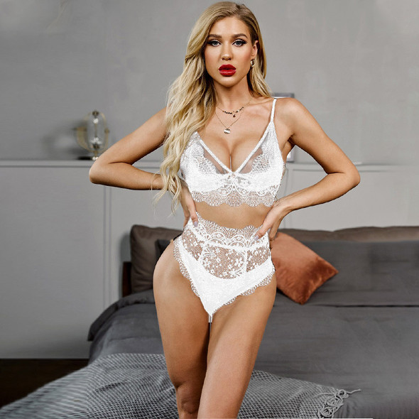 Womens Seductive sexy lace bra three-point pajama set