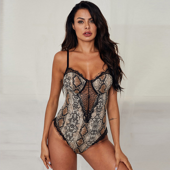 Womens Seamless Leopard Print One-piece Sexy Lingerie Suspenders