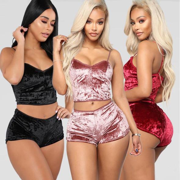 Womens Velvet Bra Set Sexy Close-fitting Pajamas