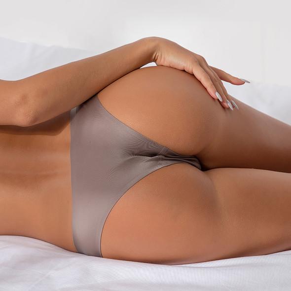 Womens Sports Thong Ice Silk Seamless Yoga Panties