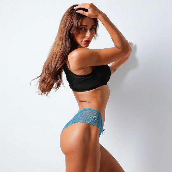 Womens Sexy Mid-waist Lace Briefs