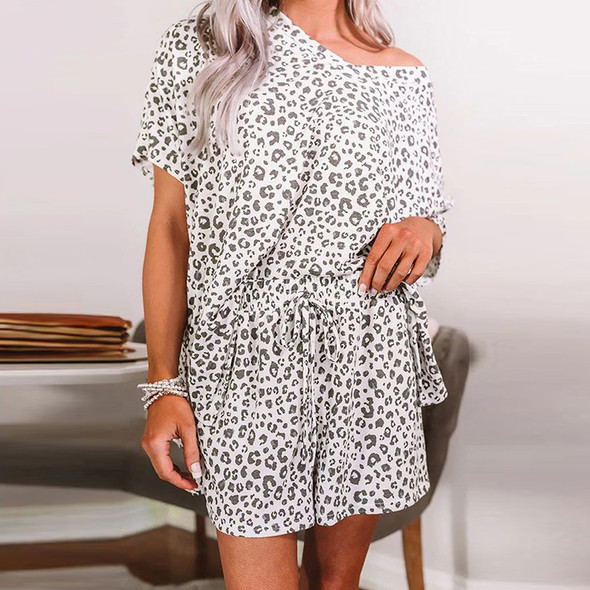 Womens Tie Dyed Leopard Print V-neck Short-sleeved Pajama Set