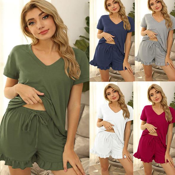 Womens Two Piece Casual Drawstring Pajamas